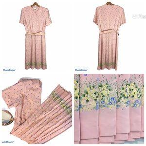 Vintage Pink Floral Border Print Dress Full Pleats